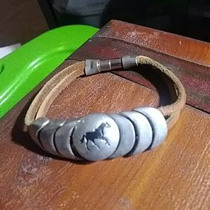 Native American Indian Leather Magnetic Bracelet